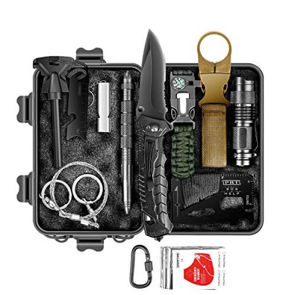 RUIJIA Survival Kit 1 RUIJIA Survival Kit 12 in 1, Survival Gear Accessories Wise Outdoor Emergency Tactical Defense Equipment Tools, Emergency Gear for Camping, Hiking, Hunting, Climbing, Fishing, Pefect Gifts for Family
