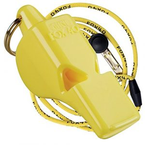 Fox 40 Survival Whistle 1 Fox 40 Original Mini Whistle with Lanyard, Yellow