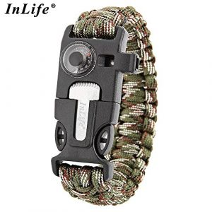 Wsobue Survival Paracord Bracelet 1 Paracord Bracelet, Outdoor Survival Gear Fire Starter Whistle Compass Emergency Knife, Perfect for Hiking Camping Fishing and Hunting