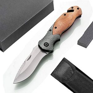 Unilove  1 Unilove Folding Knife Pocket Knife Outdoor Survival Knife Tactical Knife with Sheath for Camping Hunting Survival and Outdoor