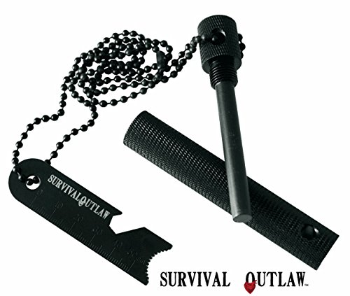 Survival Outlaw Survival Fire Starter 1 Outlaw Striker - Magnesium Water Proof Fire Starter Kit with Multi -Tool - 10,000+ Strikes - Compact Firestarter Survival Flint for Emergency, Camping, and Bushcraft.