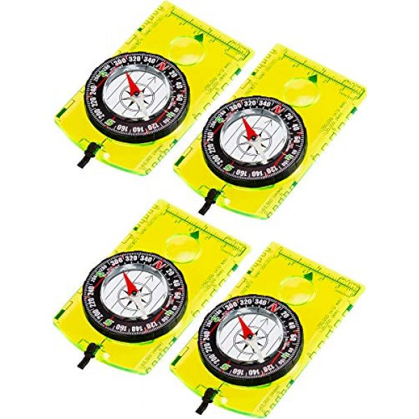 Gejoy Survival Compass 1 Gejoy 4 Pieces Navigation Hiking Compass Orienteering Backpacking Compass Waterproof Map Reading Compass for Boy Scout Kids Outdoor Camping (Style 1)