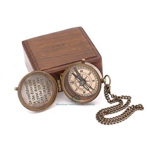 Roorkee Instruments India Survival Compass 1 Brass Compass,Gift Compass, Camping Compass, Nautical Compass,Personalized Compass,Baptism Gift, Engraved Compass