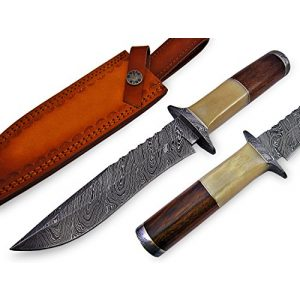 "Knife King Premium Fixed Blade Survival Knife 1 Knife King Premium ""Custom Damascus Handmade Hunting Knife. with Leather Sheath"