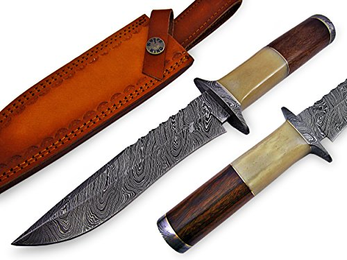 "Knife King Premium  1 Knife King Premium ""Custom Damascus Handmade Hunting Knife. with Leather Sheath"