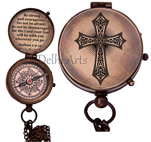 Delhi Arts  1 Baptism Gift Personalized Keepsake compass Engraved Cross and Be Strong and Courageous