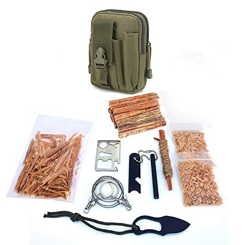 Kaeser Wilderness Supply  1 Kaeser Wilderness Supply Survival Fire Starting Molle Bag Fatwood Ferro Rod Knife Saw Emergency Camping Hiking Fishing Bushcraft Outdoorsman