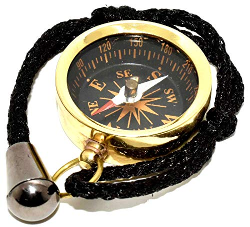 "Nautical World Survival Compass 1 Nautical World Solid Brass Pocket Compass 1.5"" - Camping and Hiking"
