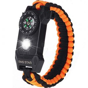 RNS STAR  1 RNS STAR Paracord Survival Bracelet 6-in-1 - Hiking Gear Traveling Camping Gear Kit - 70% Bigger Compass LED SOS Emergency Function Flashlight