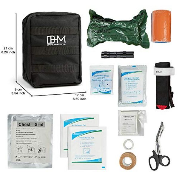 D AND H MEDICAL First Aid Kit 2 D & H Medical Survival (IFAK) Trauma First Aid Kit for Emergencies. Includes Combat Action Tourniquet (CAT) and Much More. Great for Outdoor Gear for Camping Hiking Hunting Travel Car Adventures.