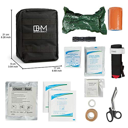 D AND H MEDICAL  2 D & H Medical Survival (IFAK) Trauma First Aid Kit for Emergencies. Includes Combat Action Tourniquet (CAT) and Much More. Great for Outdoor Gear for Camping Hiking Hunting Travel Car Adventures.