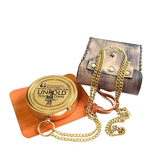 Brass Nautical  1 Brass Nautical - Rumi's Brass Unfold Your Own Myth Compass with Leather Carry Pouch and Gift Box