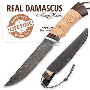 Nazarov Knives Fixed Blade Survival Knife 1 Fixed Blade Steel Hunting Knife - Sharpened OVOD Damascus Steel Blade and Crafted Birchbark/Hornbeam Handles - Comes with Genuine Leather Sheath - Full - Handmade in Russia