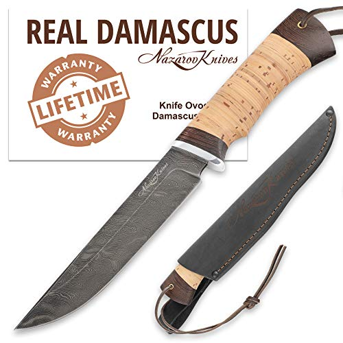 Nazarov Knives  1 Fixed Blade Steel Hunting Knife - Sharpened OVOD Damascus Steel Blade and Crafted Birchbark/Hornbeam Handles - Comes with Genuine Leather Sheath - Full - Handmade in Russia