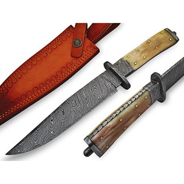 "Knife King Fixed Blade Survival Knife 1 Knife King ""Custom Damascus Handmade Hunting Knife. with Leather Sheath"