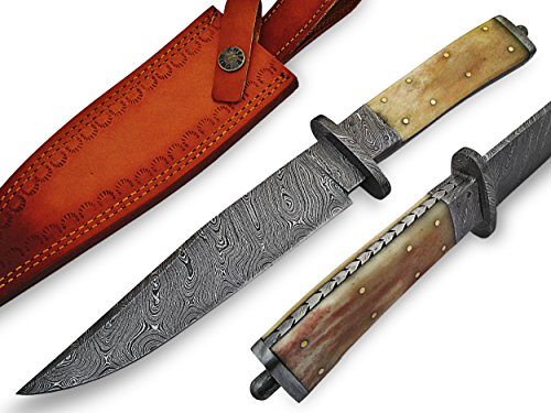 "Knife King  1 Knife King ""Custom Damascus Handmade Hunting Knife. with Leather Sheath"