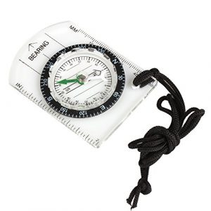 Flexzion  1 Flexzion Mini Baseplate Compass Pocket Style with MM INCH Measure Ruler and Neck Strap for Outdoor Hiking Camping Boating Map Reading Orienteering Tool in Transparent White