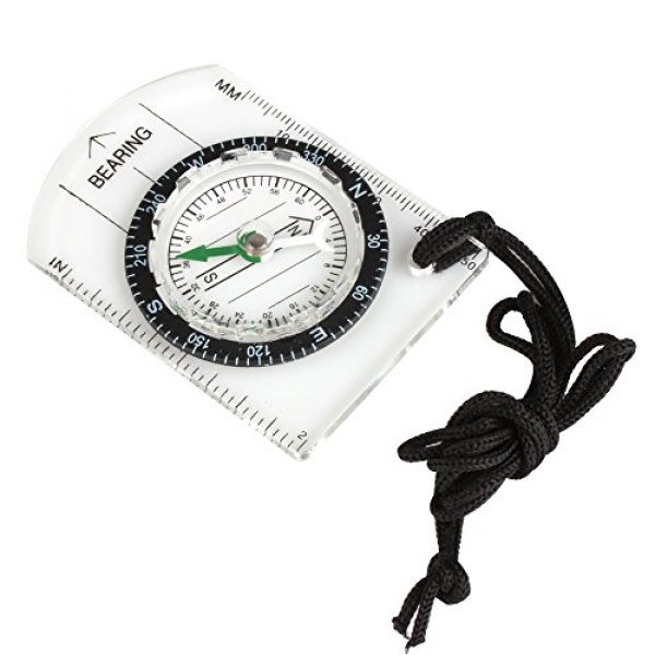 Flexzion Survival Compass 1 Flexzion Mini Baseplate Compass Pocket Style with MM INCH Measure Ruler and Neck Strap for Outdoor Hiking Camping Boating Map Reading Orienteering Tool in Transparent White