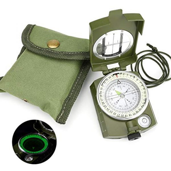 Intsun Survival Compass 1 Intsun Military Compass for Hiking, Multifunctional Lensatic Compass Waterproof and Shakeproof, Sighting Navigatio Compasses for Hiking, Camping, Motoring, Boating, Boy Scout