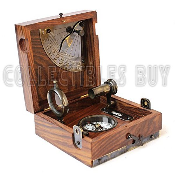 collectiblesBuy Survival Compass 6 Six Instrument Marine Master Box - Compass Telescope Scale Chart Spirit Level Alidade