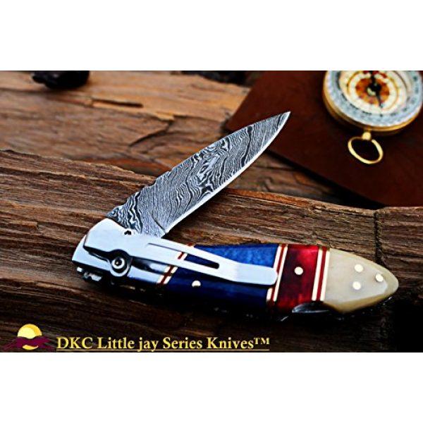 "DKC Knives Folding Survival Knife 1 DKC Knives Sale DKC-58-LJ-CL-DS-PC Little Jay Classic Pocket Clip Damascus Folding Pocket Knife Buffalo Horn Handle 4"" Folded 7"" Long 4.7oz oz High Class Looks Incredible Hand Made LJ-Series"