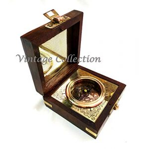 Marineantiques Survival Compass 1 Marineantiques Antique Nautical Brass Compass in Wooden Box
