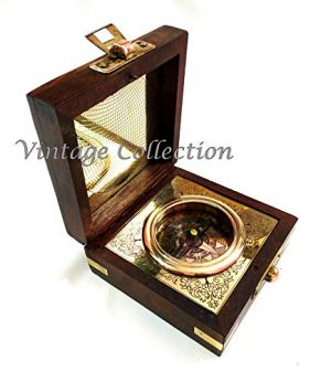 Marineantiques  1 Marineantiques Antique Nautical Brass Compass in Wooden Box