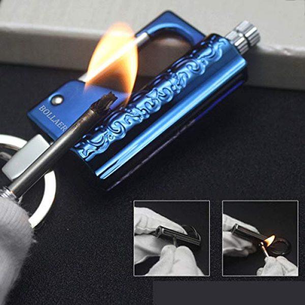 BOLLAER Survival Fire Starter 1 BOLLAER Outdoor Emergency Fire Starter Flint Match Lighter Keychain, Flint Metal Matchstick Fire Starter with Keychain for Camping Hiking Best Gift