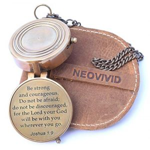 NEOVIVID Survival Compass 1 NEOVIVID Be Strong and Courageous, Do Not Be Afraid Engraved Compass, Joshua 1 9 Engraved Gifts, Confirmation Gift Ideas, Baptism Gifts, Missionary Gifts, Birthday Gifts