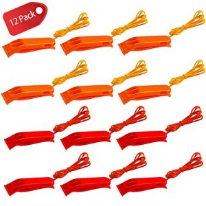 AVIDE Survival Whistle 1 AVIDE 12 Pcs Emergency Safety Whistles with Lanyard, Plastic Whistles Set for Sports Training Outdoor Emergency Survival Like Boating Camping Hiking Hunting, Red and Orange