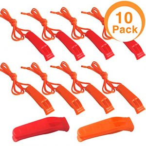 Augsun  1 Augsun 10 Pcs Emergency Safety Whistle Plastic Whistles Set with Lanyard