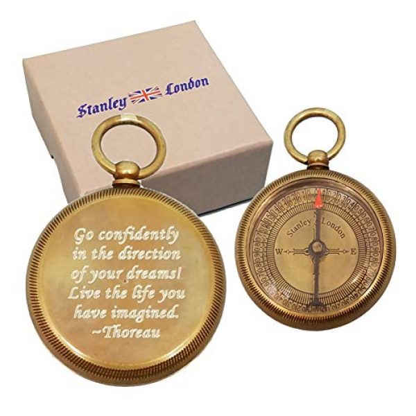 Stanley London Survival Compass 1 Stanley London Personalized Antique Open Faced Pocket Compass Gifts Engraved - 6 Designs - for Hiking, Graduation, Baptism, Confirmation, Anniversary, Him, Her, Husband, Dad, Son