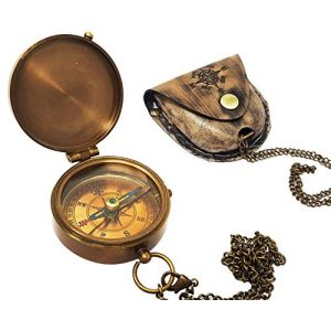 Brass Nautical Survival Compass 1 Brass Nautical - Antique Brass Compass Nautical Pocket Backpacking Compass Leather Case Vintage Camping Hiking Direction Marine Graduation Confirmation Day Engravable for Men Quality Travel
