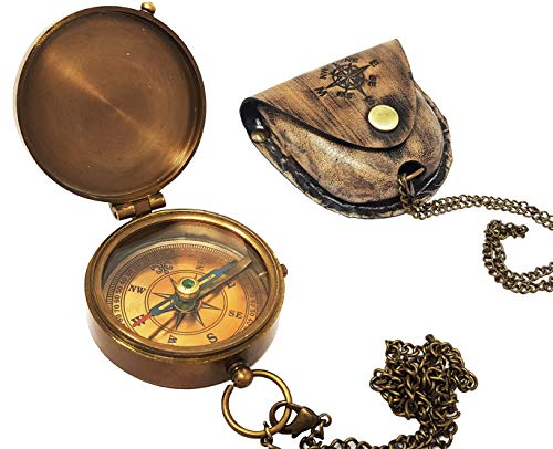 Brass Nautical  1 Brass Nautical - Antique Brass Compass Nautical Pocket Backpacking Compass Leather Case Vintage Camping Hiking Direction Marine Graduation Confirmation Day Engravable for Men Quality Travel