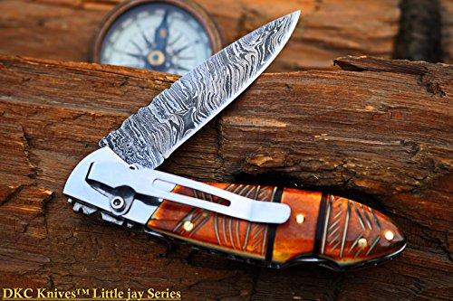 "DKC Knives  1 DKC Knives DKC-58-LJ-EH-DS-PC Little Jay Chief Pocket Clip Damascus Steel Folding Pocket Knife Handle 4"" Folded 7"" Long 4.7oz oz High Class Looks Hand Made LJ-Series"