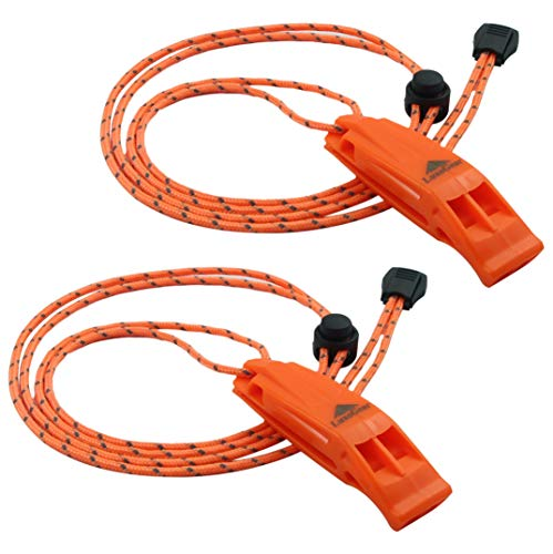 LuxoGear  1 LuxoGear Emergency Whistles with Lanyard Safety Whistle Survival Shrill Loud Blast for Kayak Life Vest Jacket Boating Fishing Boat Camping Hiking Hunting Rescue Signaling Kids Lifeguard Plastic 2 Pack