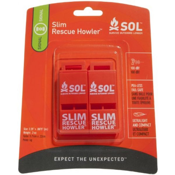 S.O.L. Survive Outdoors Longer Survival Whistle 1 S.O.L. Survive Outdoors Longer Slim Rescue Howler Whistle (2-Count), Orange, Model:AD0010