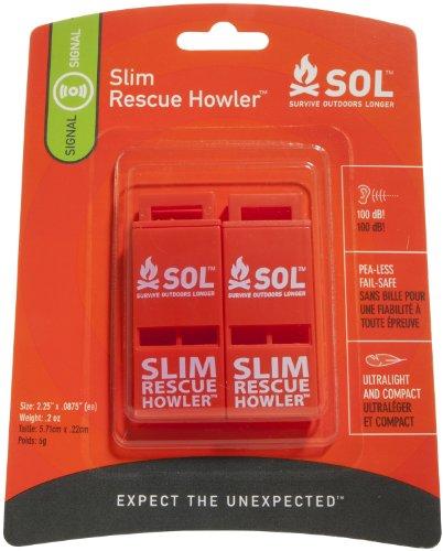 S.O.L. Survive Outdoors Longer  1 S.O.L. Survive Outdoors Longer Slim Rescue Howler Whistle (2-Count)