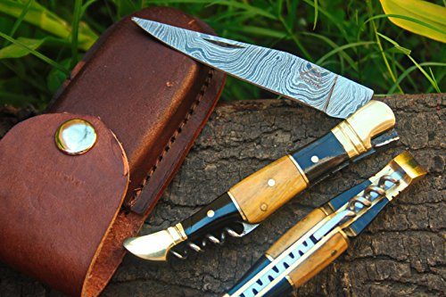 "DKC Knives  1 DKC Knives (14 5/18) Sale DKC-53 Blonde Squire Damascus Folding Laguiole Pocket Knife 4.5"" Folded 8"" Long 2.5oz oz High Class Looks Hand Made"