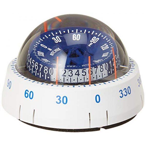 Ritchie Navigation Survival Compass 1 Ritchie Navigation XP-98W X-Port Tactician Surface Mount Compass, White with Blue Dial