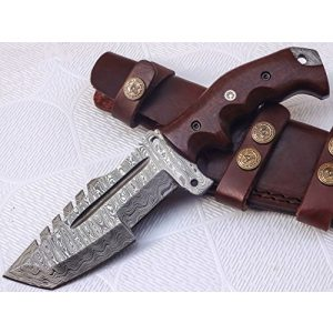 Poshland Fixed Blade Survival Knife 1 Poshland TR-301, Custom Handmade Damascus Steel Tracker Knife - Stunning Handle