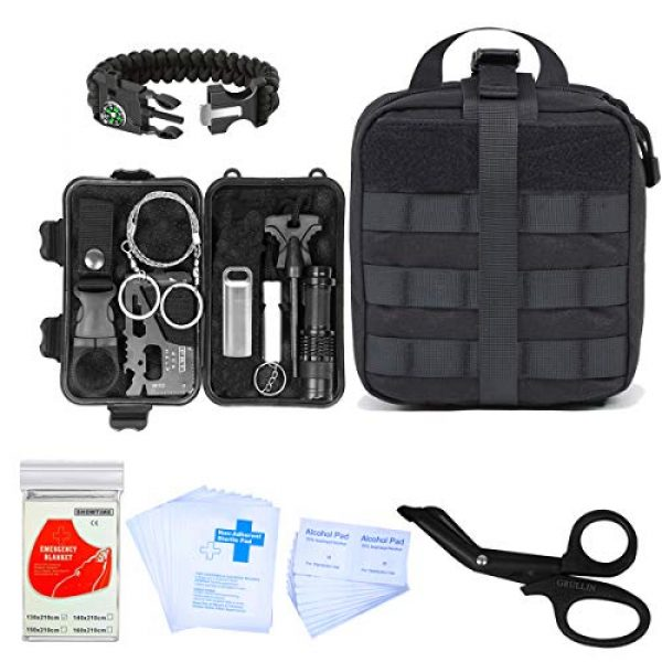 GRULLIN Survival Kit 1 GRULLIN Outdoor Survival Kit, 43 in 1 Multi-Purpose First Aid Emergency EDC Survival Kit with Survival Bracelet Pill Box Emergency Blanket for Car Camping Hiking Travel Adventures