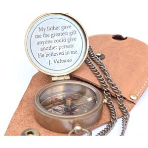 RIRHTAJUS Survival Compass 1 RIRHTAJUS Engraved Brass Compass with Stamped Leather Case, Fathers Birthday Gifts, Fathers Compass, Fathers Retirement Gifts