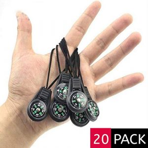 SPY SEE OPEN YOUR EYES Survival Compass 1 SPYSEE Mini Survival Compass Pack of 20 - Outdoor Camping Hiking Pocket Compass Liquid Filled Mini Compass for Paracord Bracelet Necklace Key Chain