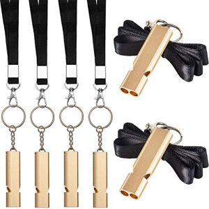 Norme  1 Norme 6 Pieces Outdoor Double Tubes Emergency Survival Whistle with Buckles and Black Lanyard for Hiking Camping Boating Hunting Fishing Sports Dog Training