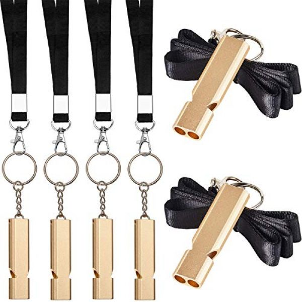 Norme Survival Whistle 1 Norme 6 Pieces Outdoor Double Tubes Emergency Survival Whistle with Buckles and Black Lanyard for Hiking Camping Boating Hunting Fishing Sports Dog Training