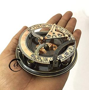 AV  1 AV Maritime Sundial Compass Brass Solid Nautical Sundiel Clock Compasses