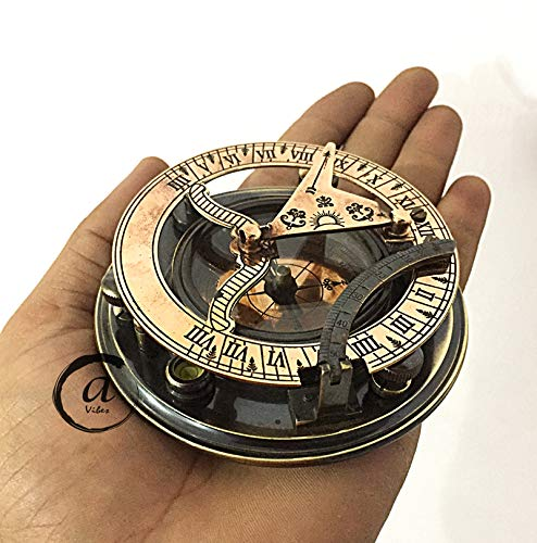 AV  1 AV Maritime Sundial Compass Brass Solid Nautical Sundiel Clock Compasses