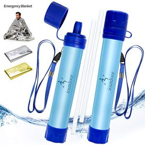 ioutdoor Survival Water Filter 1 ioutdoor 2 Pack Water Filter Straw with Free Emergency Blankets,Portable Lightweight Personal Water Purifier Survival Filtration Gear for Hiking Camping Fishing Hunting Backpacking Travel