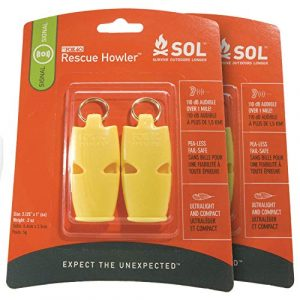 S.O.L. Survive Outdoors Longer Survival Whistle 1 S.O.L. Survive Outdoors Longer S.O.L. Slim Rescue Howler Whistle, 2 ct (Pack of 2)
